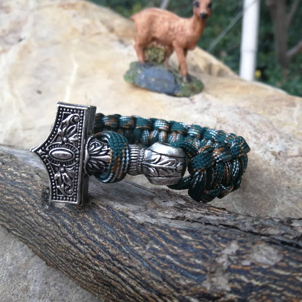 Paracord Bracelet Replaceable Norse Viking Runes Beads Braided Bracelet Men Bracelets Thor Hammer Rope Bangles for Men Jewelry (6)