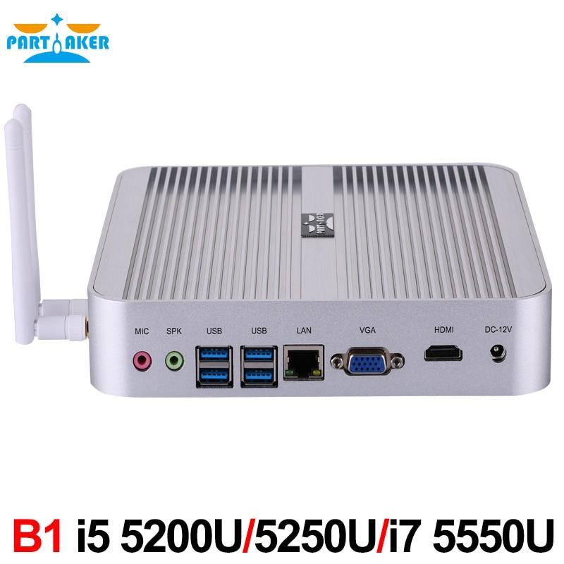 Fanless Barebone Mini PC Win 10 3 Years Warranty Nuc Computer Core I5 4200U I5 5200U I7 5550U 4K HTPC TV Box DHL Free Shipping