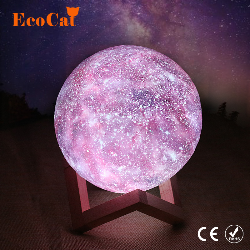 LED Galaxy Lamp 3D Print Star Moon Lamp Colorful Change Touch Home Decor Creative Gift Led Night Light  15CM changeable 16 colorLED Galaxy Lamp 3D Print Star Moon Lamp Colorful Change Touch Home Decor Creative Gift Led Night Light  15CM changeable 16 color