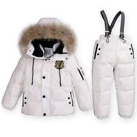 سوبر الدعاوى الفتيان فتاة الأطفال شتاء دافئ بطة أسفل سترة + مريلة السراويل 2 قطع مجموعة ملابس الاطفال الثلوج الحرارية ارتداء أعلى جودة