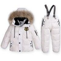 Super Caldo di Inverno Dei Bambini Adatta Ragazzi Ragazza Jacket Anatra Giù + Bib Pants 2 pz Abbigliamento Set Bambini Termiche Neve Usura Top qualità