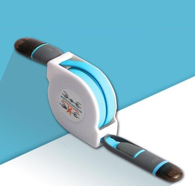 Versenkbare 2 In 1 Micro Ladegerät Usb-kabel Lade Noodle Wohnung 1 Mt Microusb Für Iphone 6 6 S Für Samsung Android Zubehör Und Ersatzteile