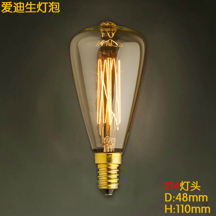E14 Base ST48 Hot Sale High Quality Retro Incandescent Light Lamp Bulb Fixtures Glass LED Edison Bulb 40W 220V For Pendant Lamps