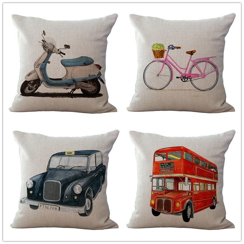 Maiyubo Bicycle Motorcycle Cushion Cover Modern Vintage Decorative Throw Pillow Case Sca ...