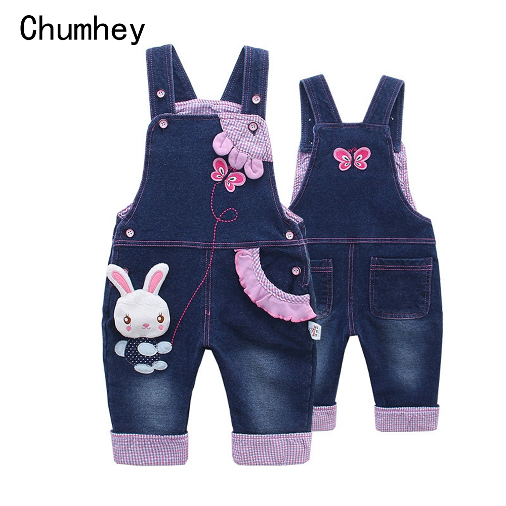 6M 4T Baby Girl Overalls Spring Infant Jeans Rompers Babe Cartoon Rabbit Clothes Toddler denim Pants