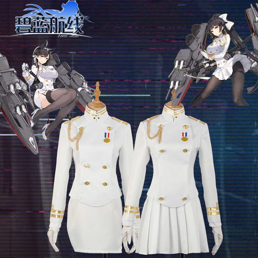 competitive price 7be75 517cf Detail Feedback Questions about Azur Lane Takao and Atago Uniform Women  Skirt Lady White Battleframe Cosplay Costume Adult Outfit Clothing  Halloween Dress ...