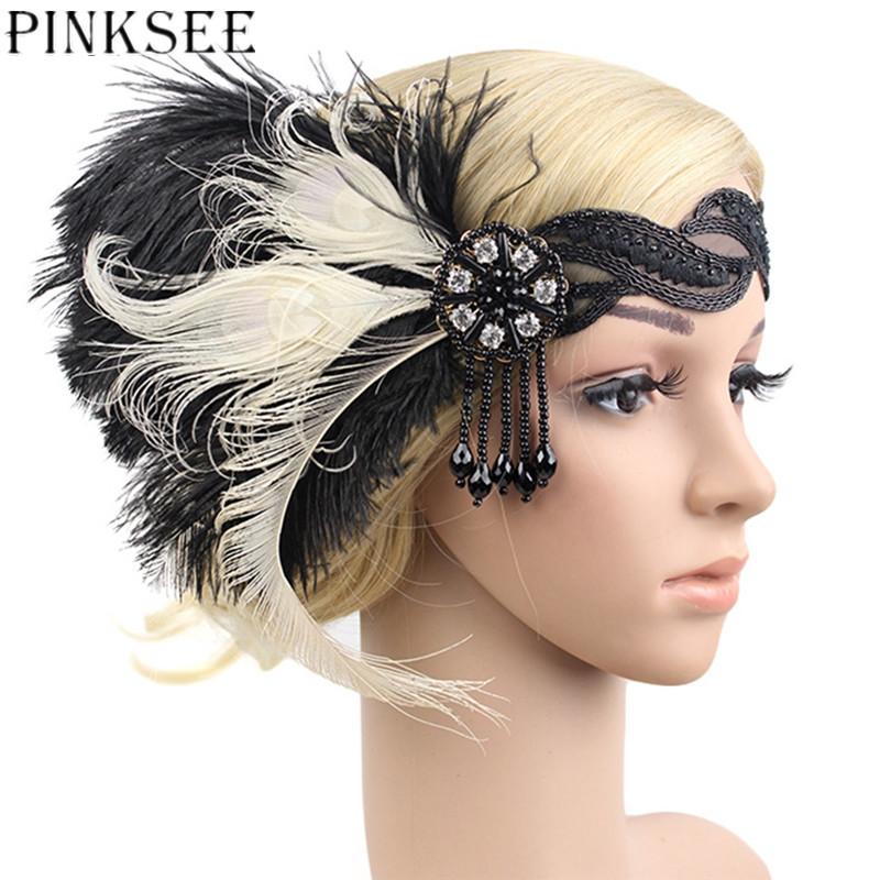 PINKSEE Retro Feathers Imitation Pearls Tassels Headpiece Women Bridal Party Dance Hairclip Ethnic Style Hair Accessories