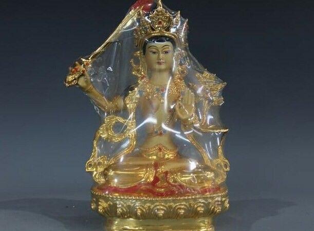 8.5Tibet Buddhism Bronze Gild Painted Manjusri GuanYin Bodhisattva statue8.5Tibet Buddhism Bronze Gild Painted Manjusri GuanYin Bodhisattva statue