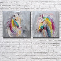 Free Shipping 100% Hand painted Abstract Colourful Horse Oil Painting Decorative Picture Living Room Decor no Framed Wall Art