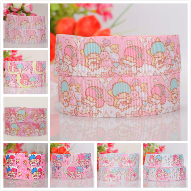 7/8  22 mm pink cartoon little twin star ribbon print grosgrain ribbon tape free shipping