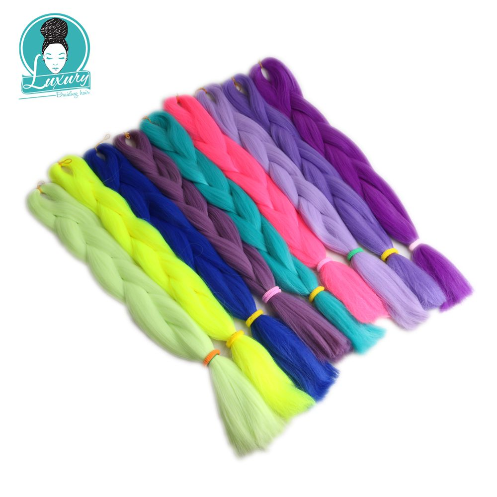 Luxury 1pack Navy Neon Olive Green Lavender Lilac Vintage Pink Kanekalon Synthetic Jumbo Braiding Hair 24 60cm 80grams Hair Braids