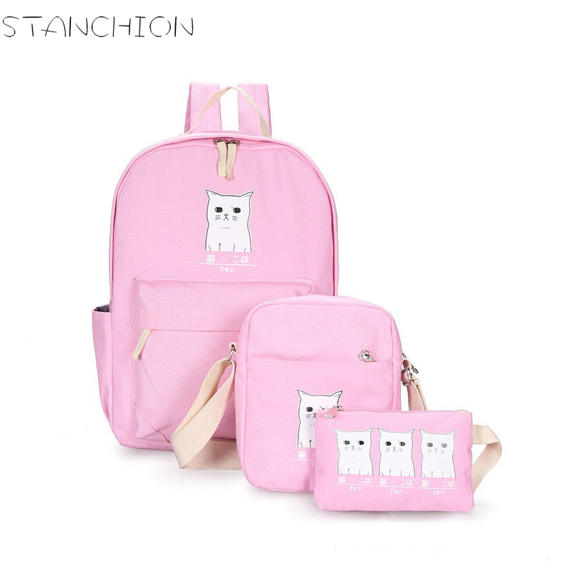 STANCHION Canvas Backpack for Women Cute Cat Printing 3pcs Teenager Girls School Backpack