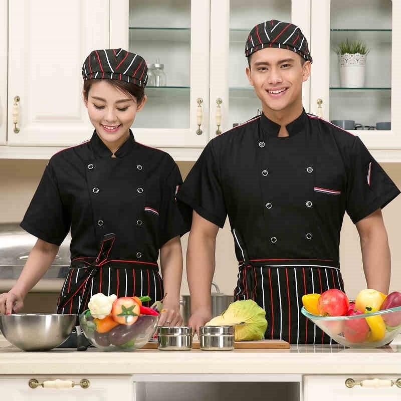 (10 Sets-Hat&Shirt&Apron) Short Chefs Uniforms Cook Suit Summer Work Wear Cook Clothes Kitchen Chef Jacket With Cap And Apron