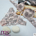2015 New Lingerie Hot Intimates Women's Underwear Sexy Lace Push Up Bra and Panties Embroidery Brassiere Underwear Sets.Bowknot