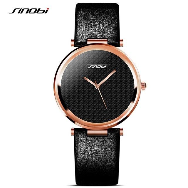 SINOBI New Fashion Minimalist Women's Rose Wrist Watches Leather Watchband Luxury Brand Simple Ladies Geneva Quartz Clock 2017