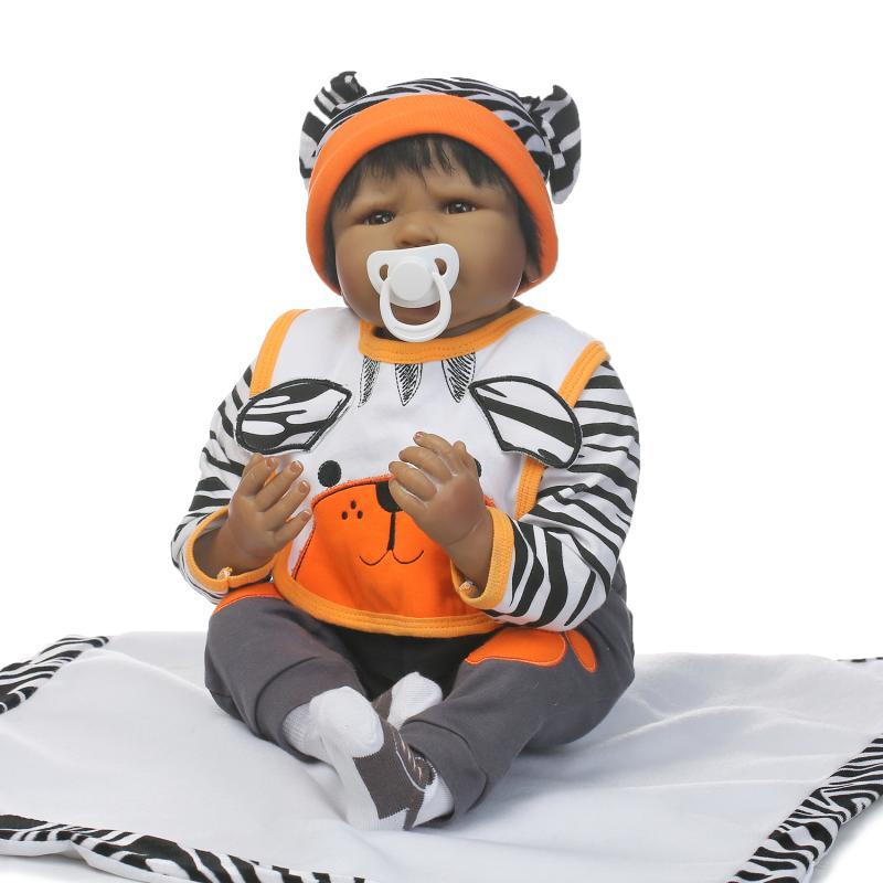 NPKDOLL 22 African American Baby Doll Black Soft Vinyl Silicone Reborn Baby Doll Bebe Reborn Lifelike Newborn Dolls Toys [sgdoll]2017 new 10 black african american lifelike reborn baby soft silicone doll sleeping girl 17041950