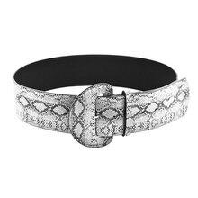 Mujer serpiente imprimir cinturón de cintura de cuero de imitación de la  moda hebilla cinturón Retro amplia Waistaband accesorio. 15ce6bc3cc49