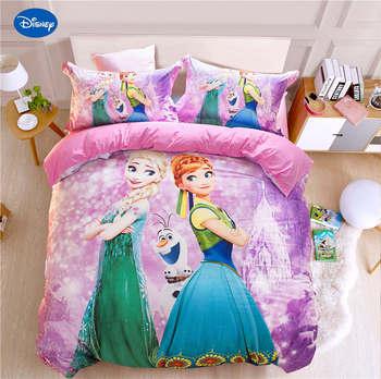 Congelato set di biancheria da letto queen size alsa e anna stampato il duvet della copertura a due letti singolo delle ragazze dei capretti tessili per la casa 3/4 /5pcs del fumetto lenzuolo