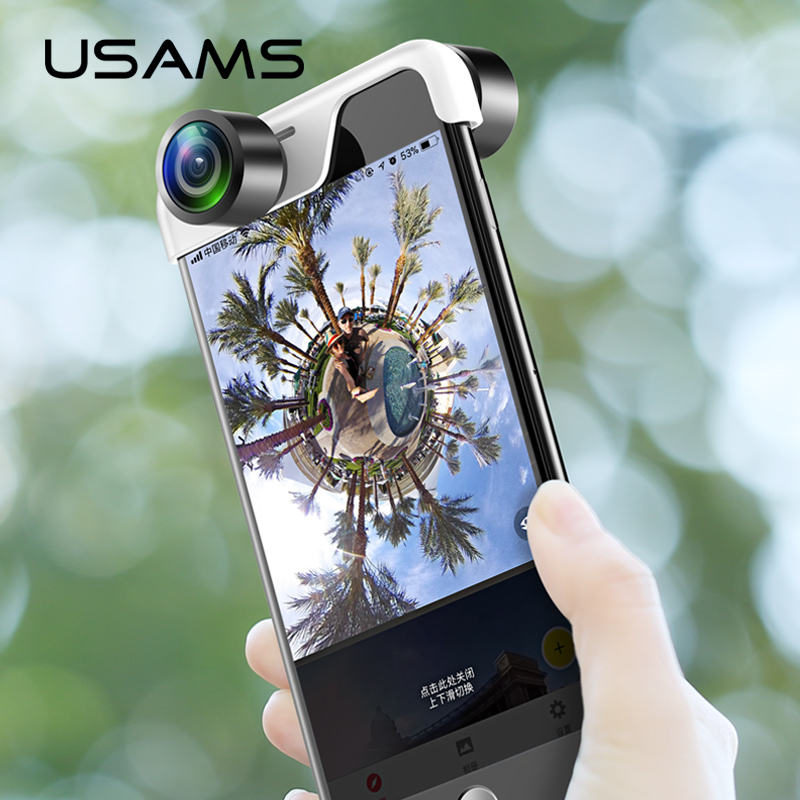 Мобильный телефон 360 панорамный Камера объектив для iPhone USAMS оригинальные телефоны панорама объектив приложение Panoclip телефон панорама выстр...