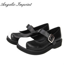 Comfortable Black and White Gothic Lolita Shoes Low Heel Round Toe Mary Jane Shoes
