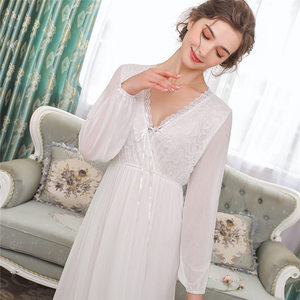Image 4 - Elegant High Waist Pink Sleepwear Women Nightgowns Long Sleeve V Neck Night Wear Sleep Shirt Vintage Lace Home Dress Ladies T311