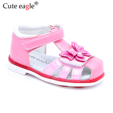 лучшая цена Cute Eagle Summer Girls Orthopedic Sandals Pu Leather Toddler Kids Shoes for Girls Closed Toe Baby Flat Shoes Size 21-26 Newest
