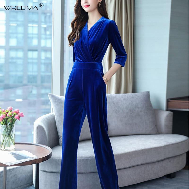 Wreeima Women Office V Neck Ankle-Length Jumpsuit Overalls Ladies Wide Leg Navy Blue Velvet Jumpsuit Romper Pockets 2019 Spring