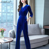 wreeima Women office V Neck Ankle Length Jumpsuit Overalls Ladies Wide Leg Navy blue Velvet Jumpsuit Romper Pockets 2019 spring