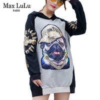 Max LuLu 2018 Luxury Japan Harajuku Girls Cartoon Streetwear Womens Golden Sequins Hoodies 3d Pattern Womens Hooded Sweatshirts