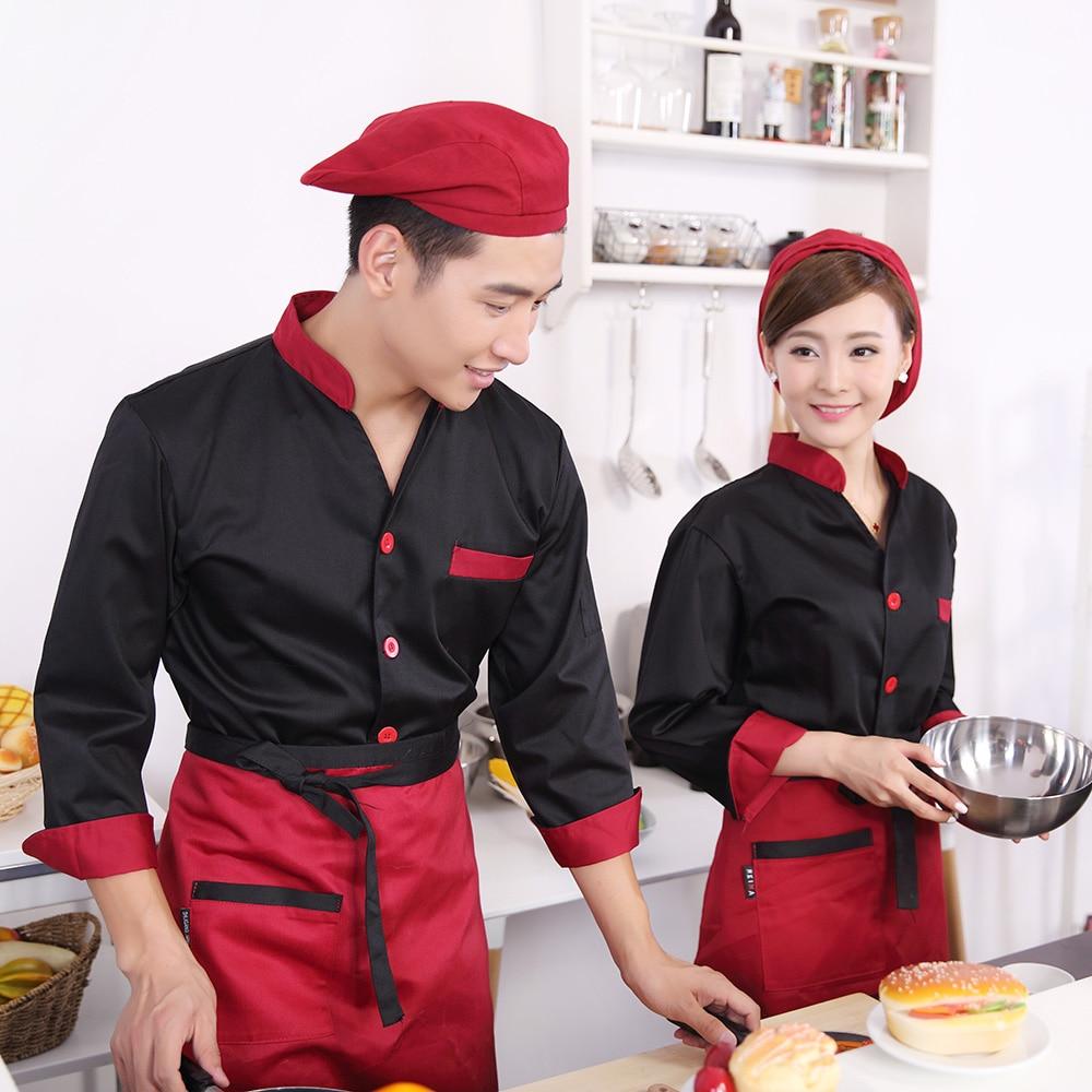 New Design Fast Food Restaurant V Neck Chef Coat Unisex Long Sleeve Chef Coat 8 Colors Hotel Cooking Clothes Cheap Cook Uniform
