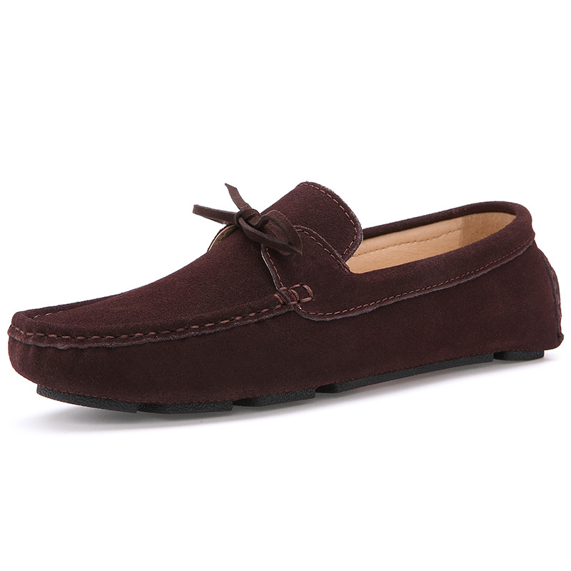 2018 New Men Casual Suede Leather Boat Shoes Solid Flock Leather Driving Moccasins Slip on Men Flat Shoes Men Loafers new suede leather women shoes loafers slip on sewing driving flats tassel woman breathable moccasins blue ladies boat flat shoes