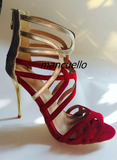 Fancy Red Golden Matched Thin Heel Sandals Sexy Patchwork Open Toe Cut-out Stiletto Heel Shoes Classic Back Zip Dress Sandals zip back fit and flared plaid dress