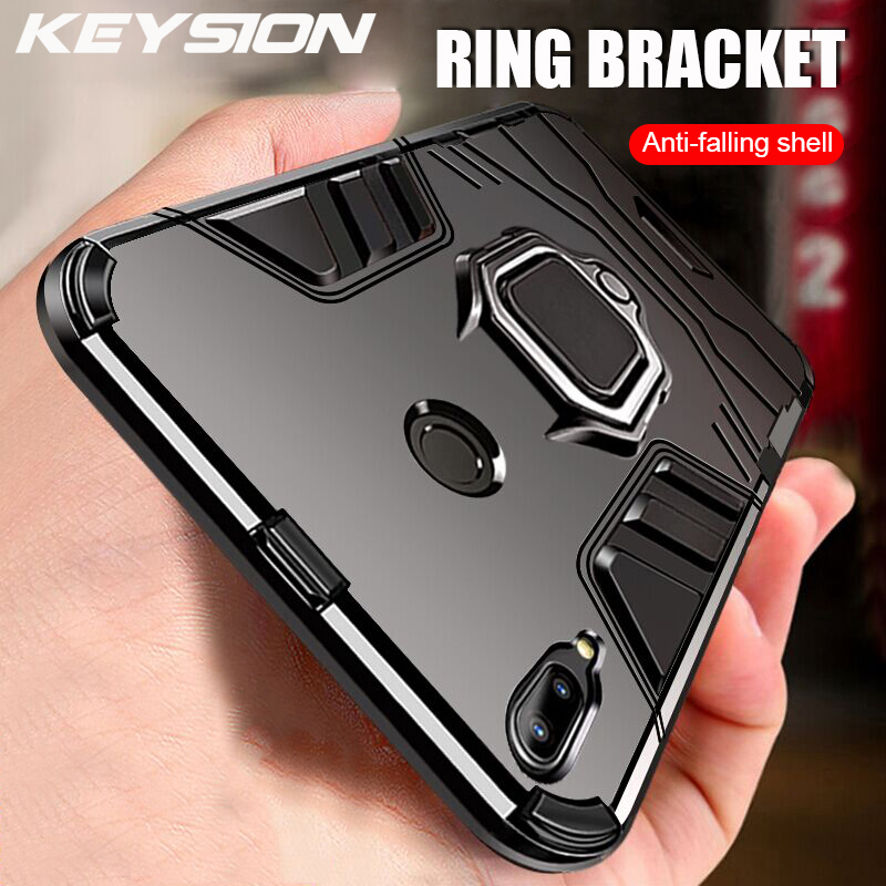 KEYSION Shockproof Armor Case For <font><b>Samsung</b></font> Galaxy <font><b>A30</b></font> A20 A10 Stand Holder Car Ring Phone Cover for <font><b>Samsung</b></font> Galaxy A20 <font><b>A30</b></font> A10 50 image