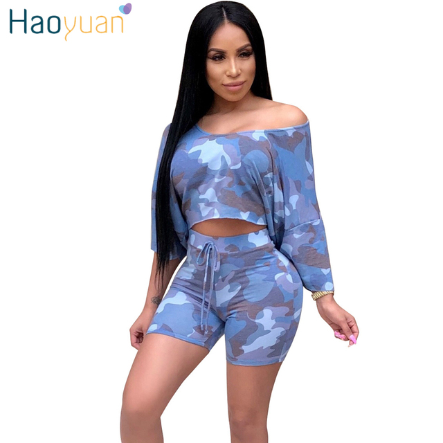 1028f7a67ba0 HAOYUAN Camo Sexy Two Piece Set Summer Outfits Clothes Top and Shorts Suits  Matching Sets 2pcs Women Camouflage Casual Tracksuit