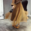 Fall Solid Long Maxi High Waist Woman Fashion Autumn Spring Pleated Skirts Lolita Plus Size Runway Adult Jupe Tulle
