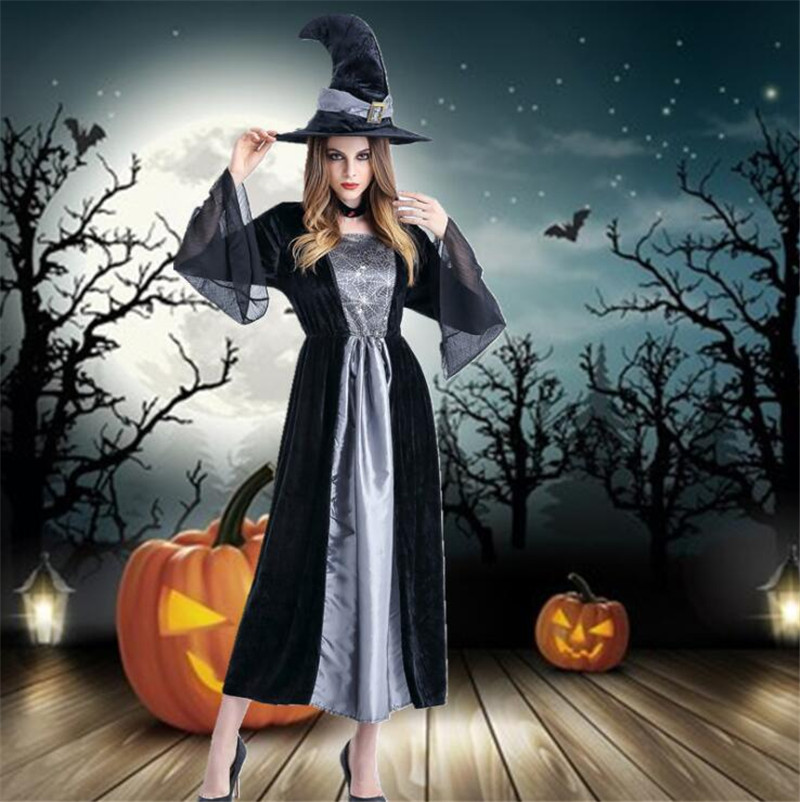 2017 New Arrival Halloween Costume for Female Witch Cosplay Costumes with Hat Adult Women Party Dress