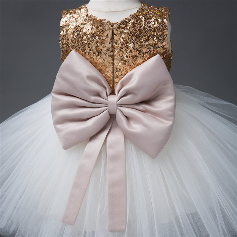 Girls Bowknot Party Gown Formal Dresses Princess Kids Baby Girl Dress Children Clothing Sequins Dresses Costume Handband 2pc 6