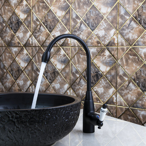 Best Deck Mount Ceramic Handle Swivel 360 Oil Rubbed Black Bronze 97109 Sink Kitchen Torneira Lavatory