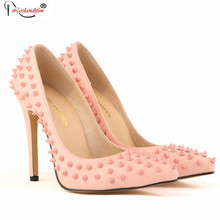 Red bottom rivets high heels shoes woman Classic pointed toe women's pumps 11cm heels shallow mouth wedding party star shoes