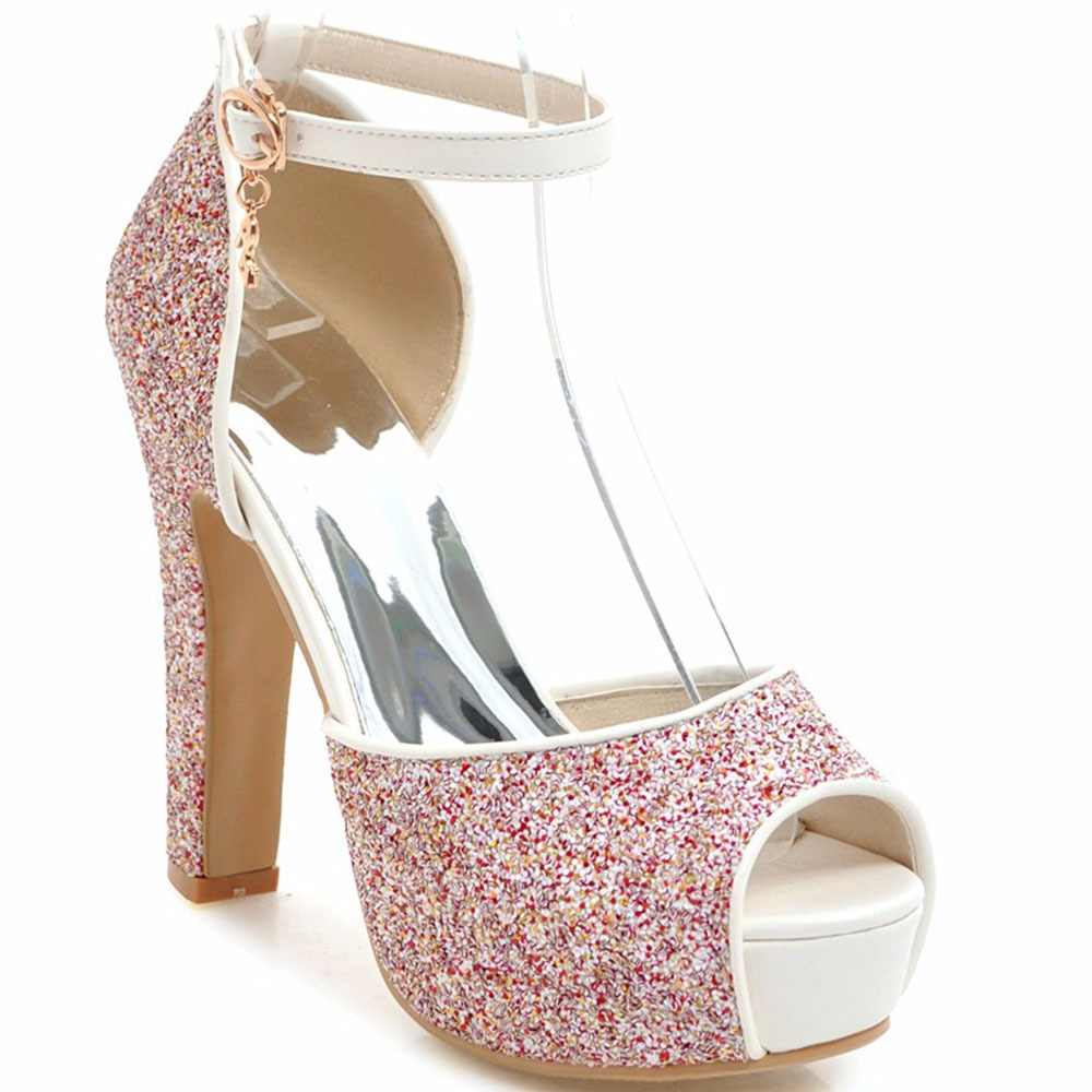 8ec247af446f SGESVIER Summer Thick Heels Women Sandals Ankle Strap Buckle Shoes Woman  PeepToe Platform Wedding Party Shoes