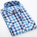 Camisas de tela escocesa de Los Hombres Camisa de Vestir de Manga Corta 2016 Camisa Social Camisa Masculina Slim Fit Ropa Para Hombres