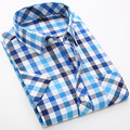 Plaid Shirts Men Dress Shirt Short Sleeve 2016 Camisa Social Shirt Male Slim Fit Mens Clothing
