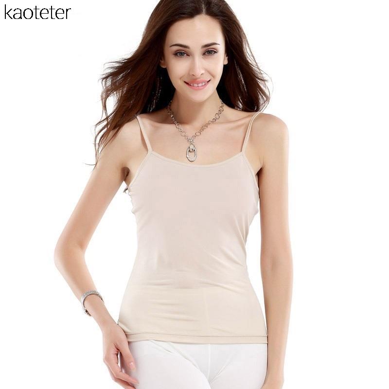 100% Pure Silk Women Inner Basic Camisoles Simple Everyday Underdress Undershirt Sexy Underwear Thin Slim Tanks Halter Tops