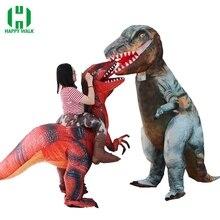 Neueste Aufblasbare Dinosaurier T Rex Kostüm Jurassic Welt Park Blowup Dinosaurier Cosplay Kostüm Halloween Kostüm für Frauen Männer