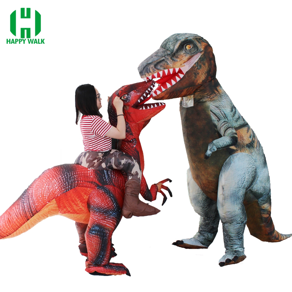 Newest Inflatable Dinosaur T-Rex Costume Jurassic World Park Blowup Dinosaur Cosplay Costume Halloween Costume for Women Men
