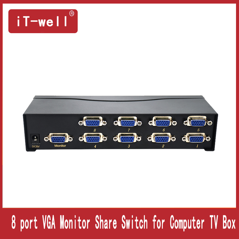 8 Port VGA commutateur vidéo Boîte 8 Entrée 1 Sortie VGA Moniteur Partager Commutateur pour Ordinateur TV Box
