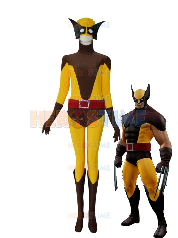 X-men Logan Yellow and Brown Superhero Costume Lycra Spandex Zentai Xmen Halloween Wolf Cosplay Bodysuit