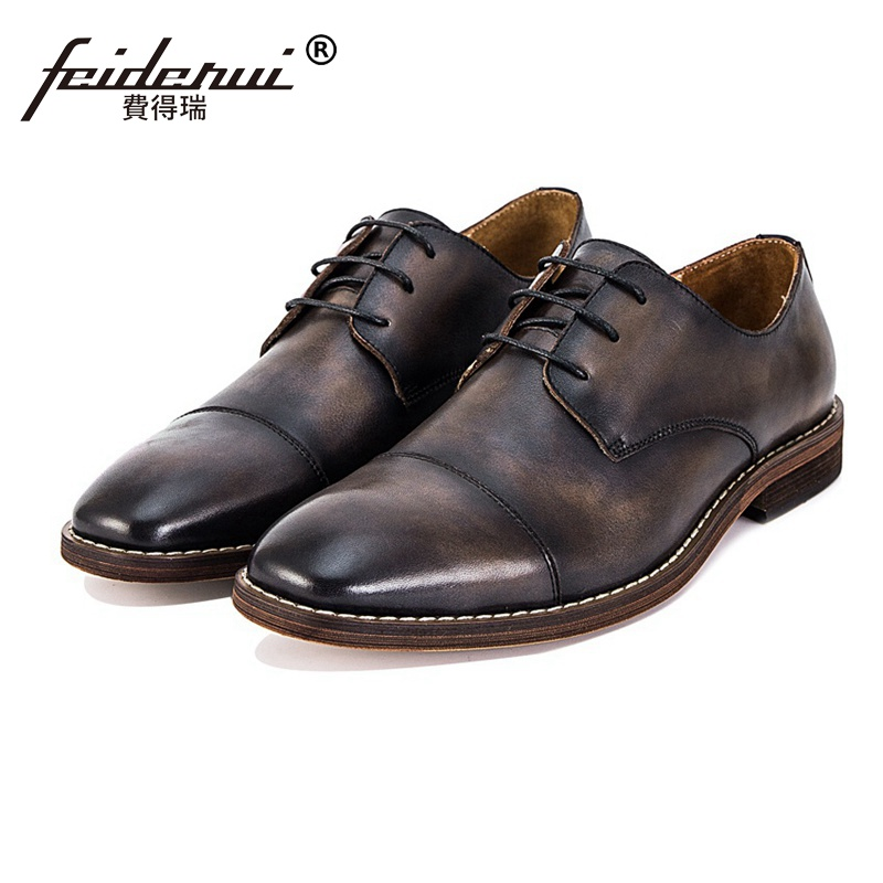 New Vintage Genuine Leather Wedding Party Men's Handmade Footwear Classic High Quality Round Toe Man Formal Dress Shoes SS75
