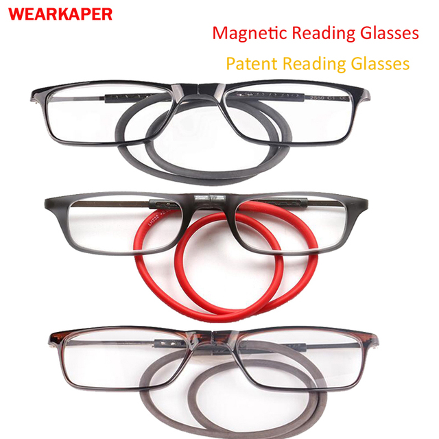 Upgraded Titanium Magnetic Reading Glasses Men Adjustable Hanging Neck Folding Glasses Thin Front Connect Magnetic Eyeglass 1-4