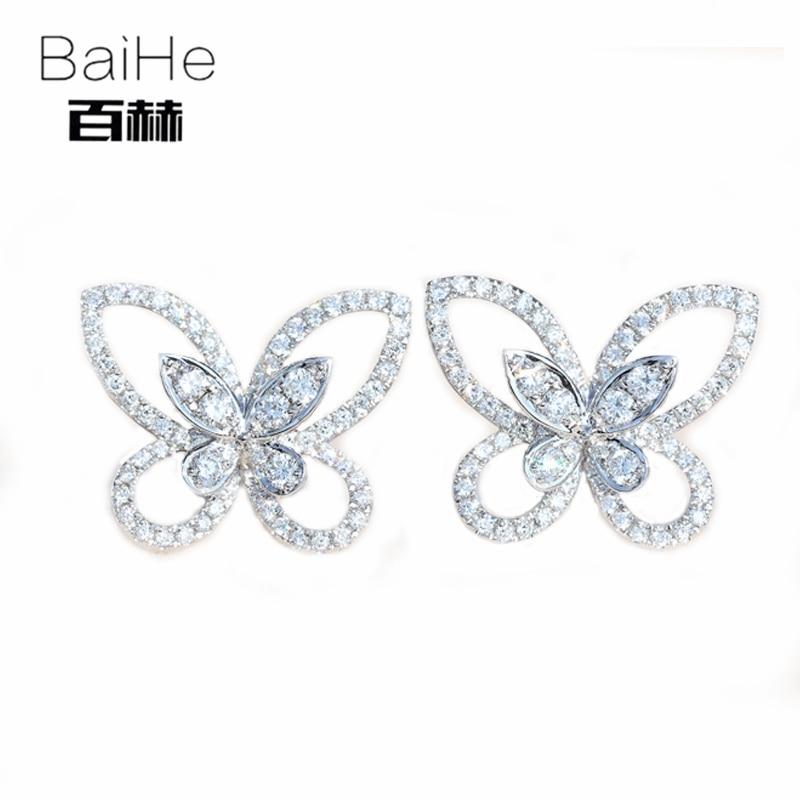 все цены на BAIHE Solid 14K White Gold 0.82CT H/SI 100% Genuine Natural Diamonds Wedding Trendy Fine Jewelry Elegant Unique Stud Earrings онлайн